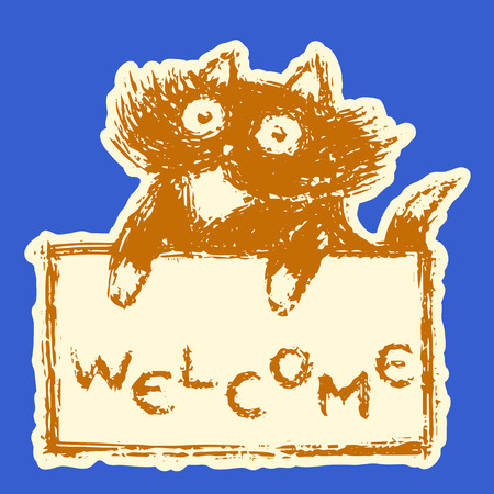 Cute fur friendly cat with tablet welcome. Blue background color. Vector illustration.
