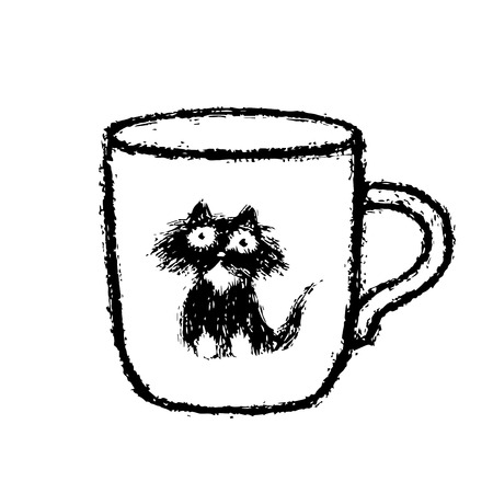Cup of coffee with cat sticker. White background color. Vector illustration.  イラスト・ベクター素材