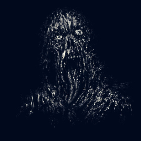 Scary dark zombie with torn face and hanging tongue. Illustration in horror genre on black background.