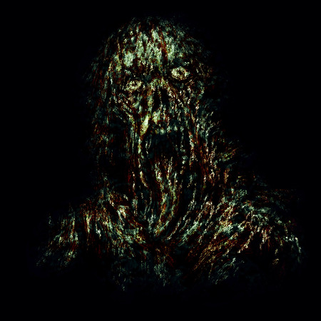 Scary green zombie with torn face and hanging tongue. Illustration in horror genre on black background.