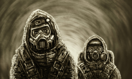 Two people in protective suits examine infected area. Biological threat. Фото со стока