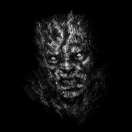 Wütendes Zombie-Gesichtskonzept. Illustration im Genre des Horrors. Schwarze Hintergrundfarbe. Standard-Bild