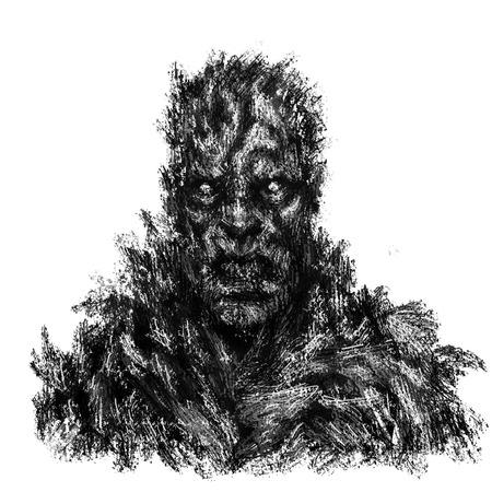 Concept de zombie en colère. Illustration dans le genre de l'horreur. Couleur de fond blanc. Banque d'images
