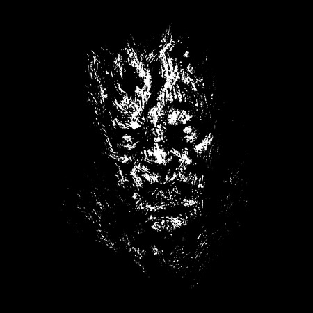 Angry zombie face concept. Genre of horror. Vector illustration. Black background color.