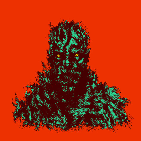 Bloody zombie concept. Genre of horror. Vector illustration. Red background color.