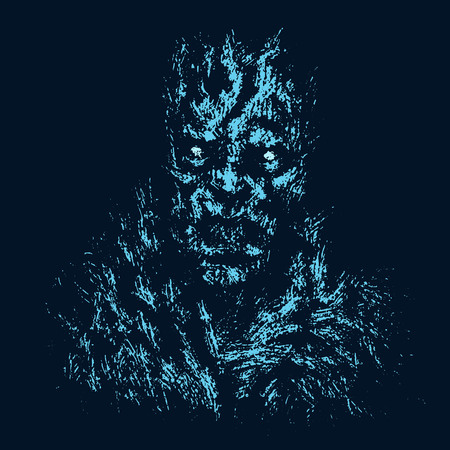 Angry zombie concept. Black background color. Illustration in genre of horror.