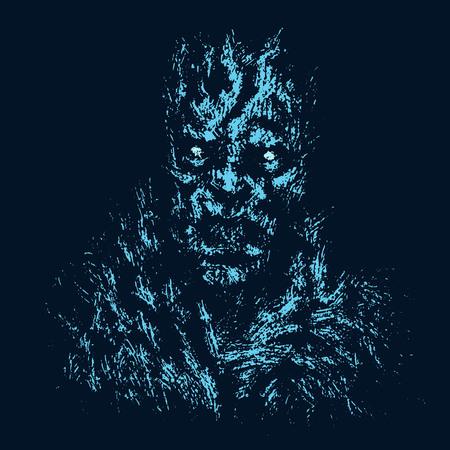 Concepto de zombie enojado. Color de fondo negro. Ilustración en género de terror. Ilustración de vector