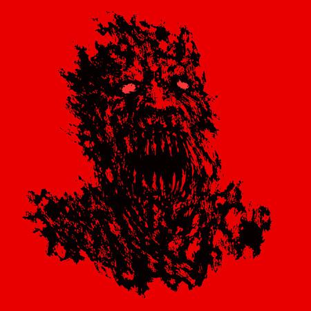 Bloody demon concept. Genre of horror. Vector illustration.