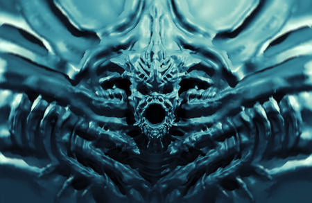 Bas-relief demon with horns. 3d illustration in genre of fantasy. Blue background color. Фото со стока