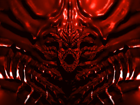 Bloody bas-relief monster with horns. 3d illustration in red color. Gates to hell. Red background