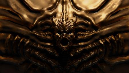 Bronze bas-relief monster with horns. 3d illustration in genre of fantasy.