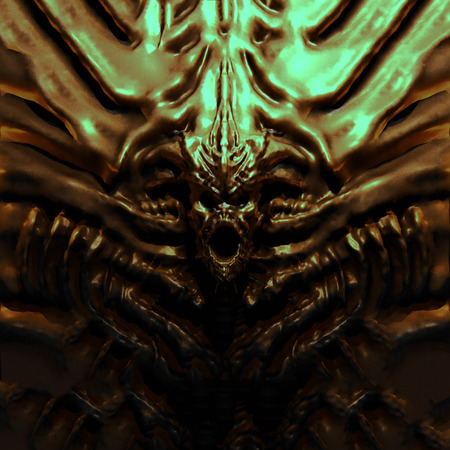 Bas-relief monster with horns. 3d illustration in genre of fantasy. Stock Photo