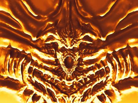 Golden bas-relief devil with horns. 3d illustration in genre of fantasy.