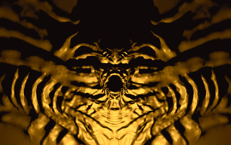 Bas-relief devil with horns. 3d illustration in genre of fantasy. Stock Photo