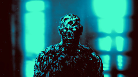 Grim demon apocalyptic face. Genre of horror. Blue background color.
