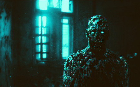 Grim zombie apocalyptic face illustration. Genre of horror. Blue background color.