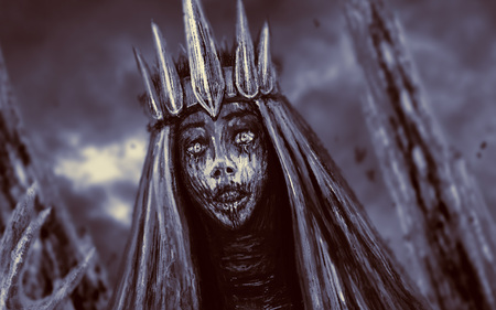 Dark queen with crown pulls hand. Fantasy illustration. Imagens - 115385153