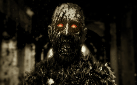 Zombie with glowing red eyes walking in hallway of abandoned house. Illustration in genre of horror. Scary monster character Imagens