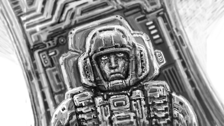 Astronaut in black and white Colors. Freehand digital drawing. Science fiction illustration