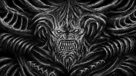 Huge monster with horns. Character in the genre of fantasy. Black and white color.