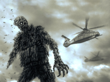 Zombie character in military uniform and helicopters on blue background. Drawing illustration in genre of battle.