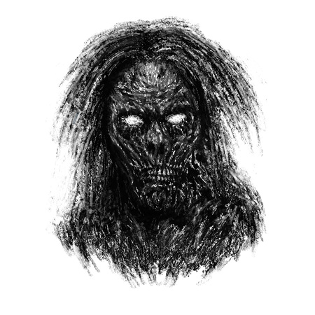Grim zombie woman face on white background. Illustration in horror genre.