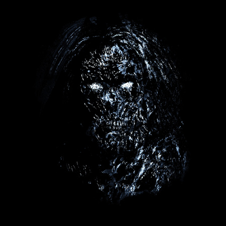Grim blue zombie woman face on black background. Illustration in horror genre.