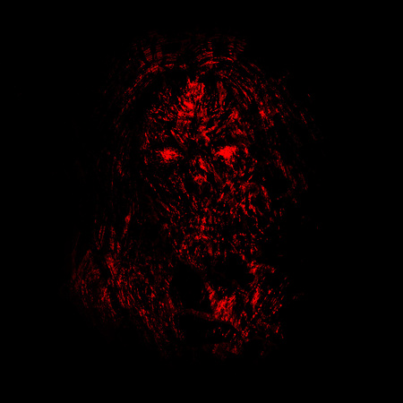Grim red zombie woman face on black background. Illustration in horror genre. Imagens