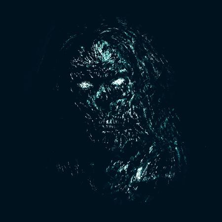 Grim blue zombie woman face on black background. Illustration in horror genre.