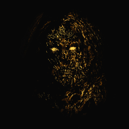 Grim orange zombie woman face on black background. Illustration in horror genre.