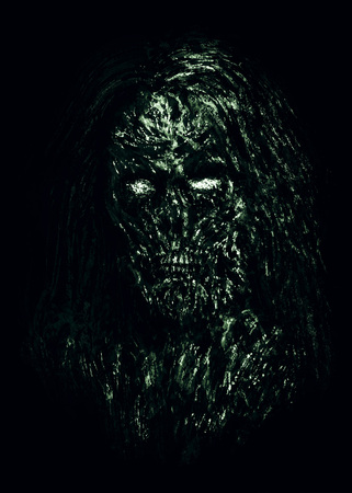Grim green zombie woman face on black background. Illustration in horror genre.