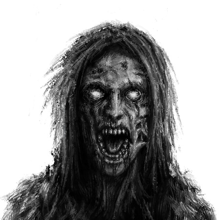Scary zombie woman face on white background. Illustration in horror genre. Imagens