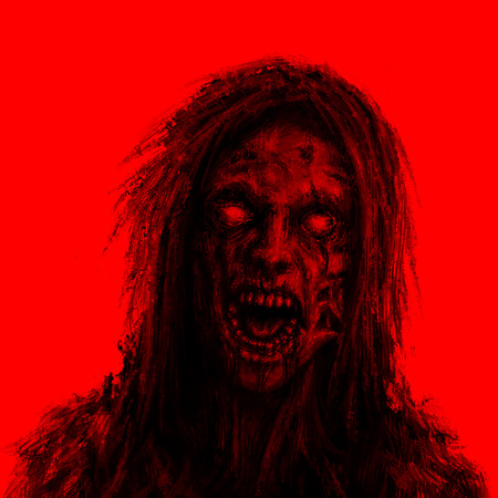 Scary zombie woman face on red background. Illustration in horror genre.