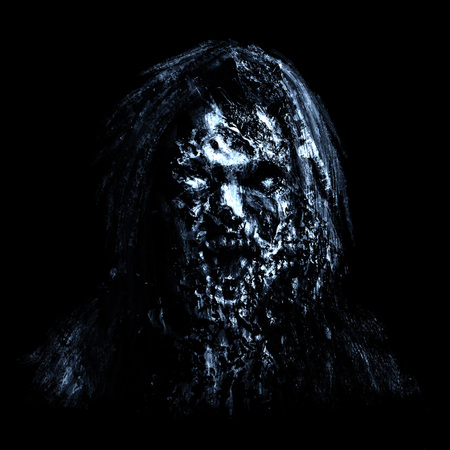 Blue zombie woman face on black background. Illustration in horror genre. Imagens