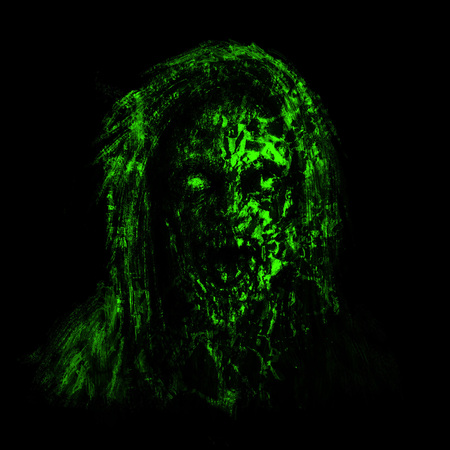 Green zombie woman face on black background. Illustration in horror genre.
