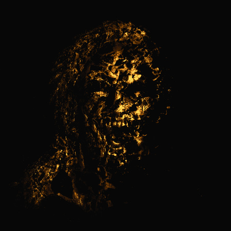 Yellow zombie woman face on black background. Illustration in horror genre.