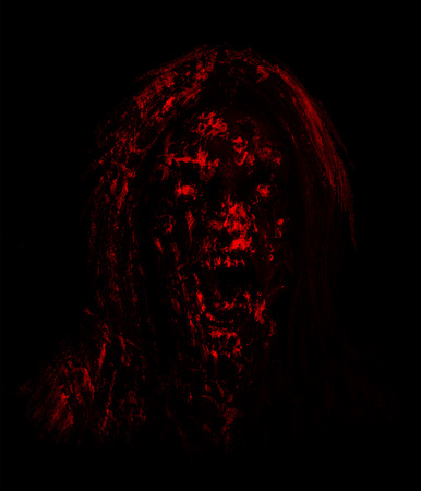 Red zombie woman face on black background. illustration in horror genre.