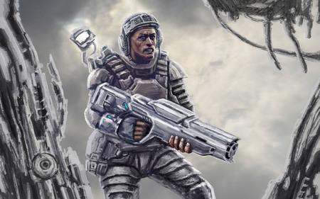 Space marine after the battle on background of debris.. Science fiction genre. Imagens
