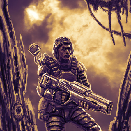 Space trooper in suit with heavy gun researching remains of spaceship. Science fiction character soldier.
