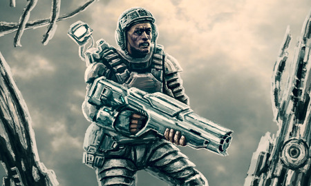 Space soldier studying the wreckage of starship. Science fiction genre. Imagens