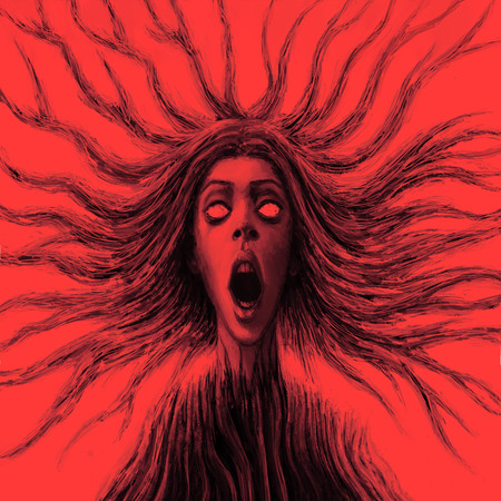Goddess of chaos with flowing hair in front. Fantasy illustration. Red background