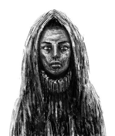 Black skinned shaman girl in the hood. Fantasy illustration. White background Imagens