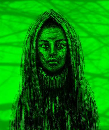 Shaman girl in the hood. Fantasy illustration. Green background