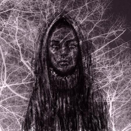 Black skinned shaman girl in the hood. Fantasy illustration. Imagens