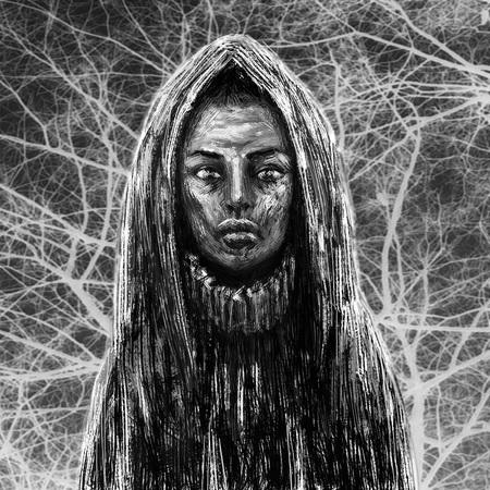 Black skinned shaman girl in hood. Fantasy illustration. Black and white background