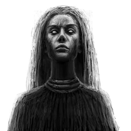 Black shaman woman. Fantasy illustration. 免版税图像
