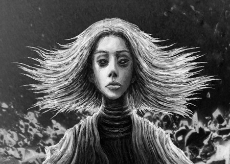 Magic girl with flowing hair in front. Fantasy illustration.