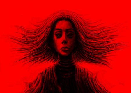 Magic girl with flowing hair in front. Fantasy illustration. Red background