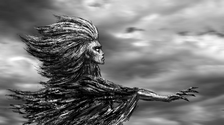 Goddess of the wind stands with an outstretched hand against the backdrop of storm clouds. Fantasy illustration.