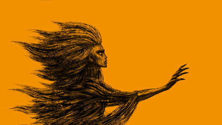 Goddess of the wind stands with an outstretched hand. Fantasy illustration. Orange background